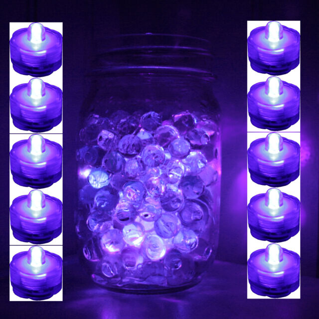Set of 10 PURPLE Submersible Bright LED tea light wedding home decoration FREE S