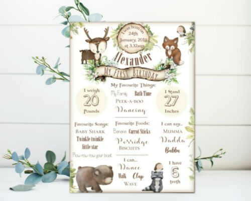 Christening Woodland Animals Milestone First Birthday Print Birthday Nursery