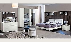Details zu Modernes Italienisches Schlafzimmer Komplett Set 6-Teilig Weiß  Hochglanz Möbel
