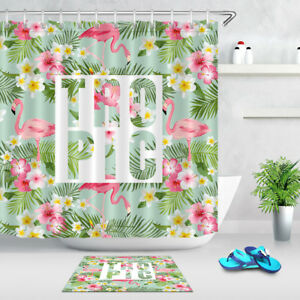 "72X72/"" Red Dahlia Autumn Flowers Shower Curtain Set Bathroom Mat Rug Carpet Hook"