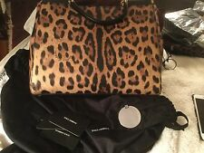 New DOLCE & GABBANA Sicily Leopard Aminal Print Black Bag Handbag Purse