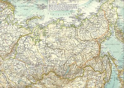 ????????????????????????123 Jahre Alte Landkarte Kaiserreich Russland Sibirien 1896???????????????? Lange Lebensdauer