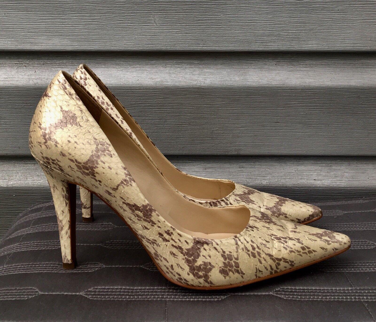 RALPH RALPH RALPH LAUREN Amaya Oyster Pointed Toe Snakeskin Pump Heels e816d3