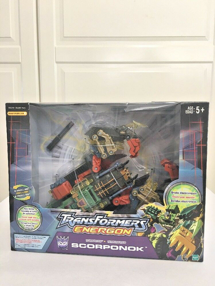 New Transformers 2003 Energon Scorponok Comic Book & Collector Card Included