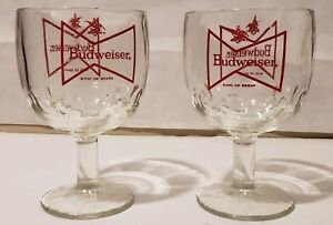 "Vintage Budweiser ""King of Beers"" Glass Goblet Schooner Chalice Set EUC"
