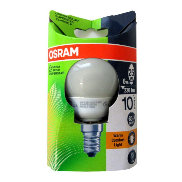 Ampoule fluo compacte Sphérique E14 2500k 6w 25w - OSRAM | Achetez ...