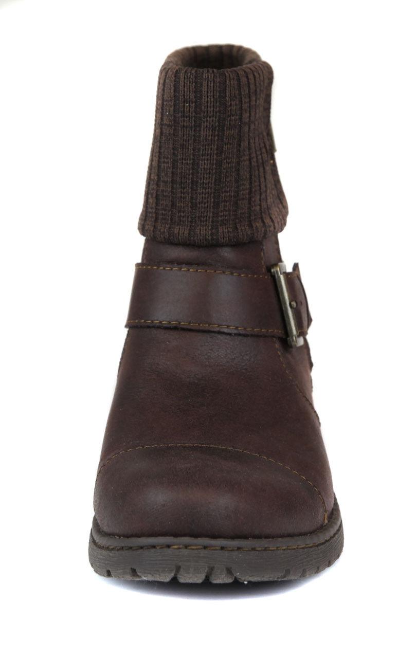 Born Women's Dark Brown Nisda Cuffed Combat Bootie Shoes Ret 160 New