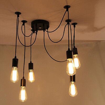 Vintage Multiple Ajustable DIY Ceiling Spider Lamp Light Pendant Edison Lighting