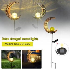 Solar Powered Full Moon LED Light Glass Globe Stake Garden Lawn Outdoor Lamp