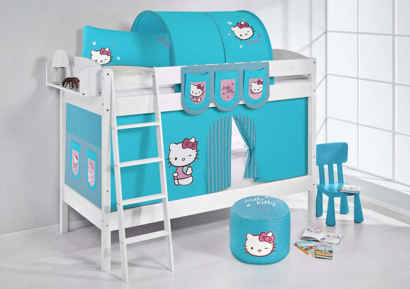 Lit Superposé Haut Lit Ida divisible 4105 NOUVEAU LILOKIDS Hello Kitty Turquoise