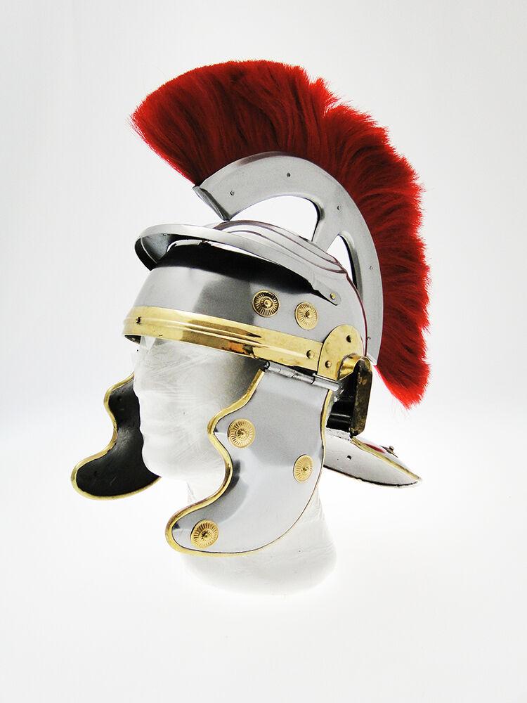 Elmo da centurione romano imperiale gallico in acciaio con piume