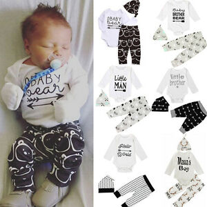 3pcs set neugeborenes baby m dchen junge kleidung strampler shirt oberteil ebay. Black Bedroom Furniture Sets. Home Design Ideas