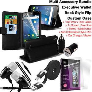 qualite-Portefeuille-Cuir-Protection-etui-de-telePhone-Pack-D-039-accessoires-Noir