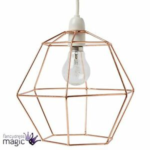 Sass belle copper wire hexagon lampshade light hanging geometric image is loading sass amp belle copper wire hexagon lampshade light greentooth Images