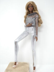Silver-Mesh-Top-amp-Silver-Tights-Handmade-by-KK-Fits-Fashion-Royalty-FR2-NuFace