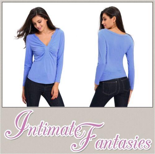 Light Blue Jumper V Neck Smart Casual Long Sleeve Top Winter Size 8 10