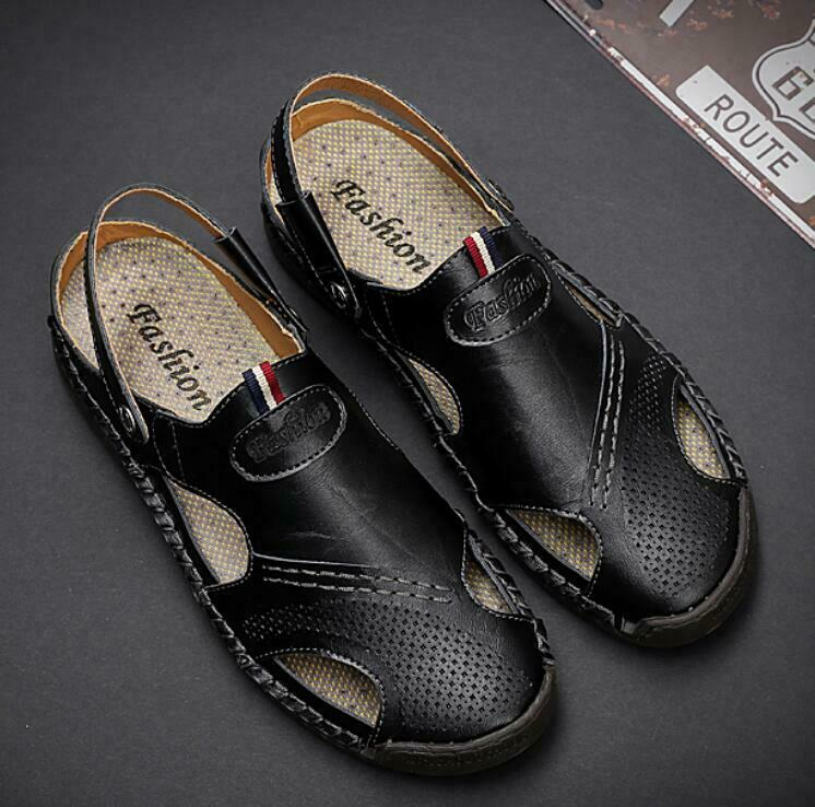 Men Cow Leather Buckle Pull On Sandal shoes Beach Loafers Casual Flat Heels US12