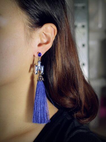 Boucles d/'Oreilles Clous Doré Art Deco Geometrique Pompon Bleu Long Retro AA23