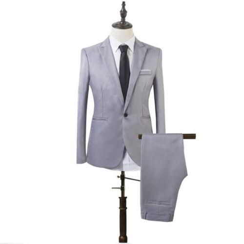 Gentle Mens 2pcs Formal Blazer Suit Business Slim Fit Tuxedo Coat Pants Trousers