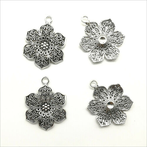 Bulk 4//10//30X Flower Antique Silver Charms Pendants For Jewelry Making 32*24mm