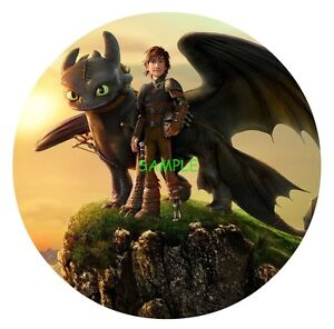 How to train your dragon round edible birthday cake topper frosting image is loading how to train your dragon round edible birthday ccuart Gallery