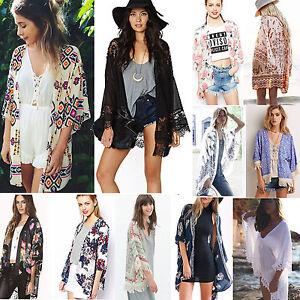 18dee07ab4451 Image is loading Women-Chiffon-Kimono-Blouse-Coat-Boho-Floral-Cardigan-