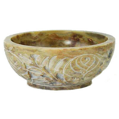 """Soapstone Scrying & Smudge Bowl 5"""" Featuring Floral Carvings"""