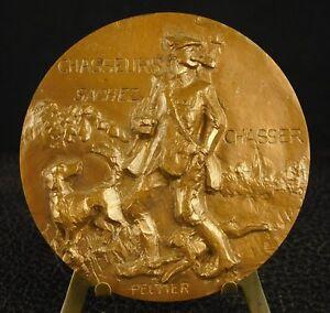 """* Médaille """"chasseurs Sachez Chasser"""" Chasse à Courre Vènerie Hunting Medal 铜牌 Pour RéDuire Le Poids Corporel Et Prolonger La Vie"""
