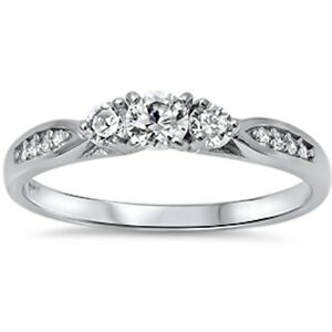 cz fashion promise 925 sterling silver ring sizes 3 12