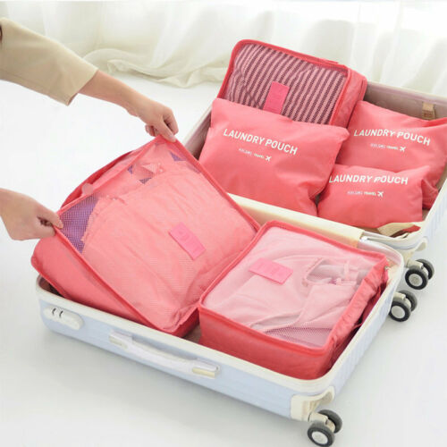 6pcs Travel Essential Luggage Organizer Storage Handle Bag Pouch Set DF