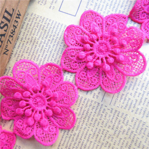 Wholesale 13yards//lot 7cm Rose Red Flower Cotton Crochet Lace Trim Ribbon Sewing