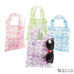 12 Hibiscus Flower Totes Bags Tropical Beach Luau Pool Birthday