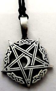 Pewter PENTAGRAM Pendant Adjustable Black Cord Necklace Nickel Free Pentacle