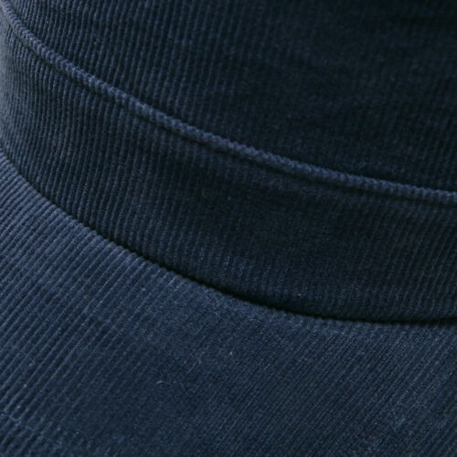 Unisex Mens Solid Color Corduroy Cord Military Cadet Cap Trucker Hats Navy Blue