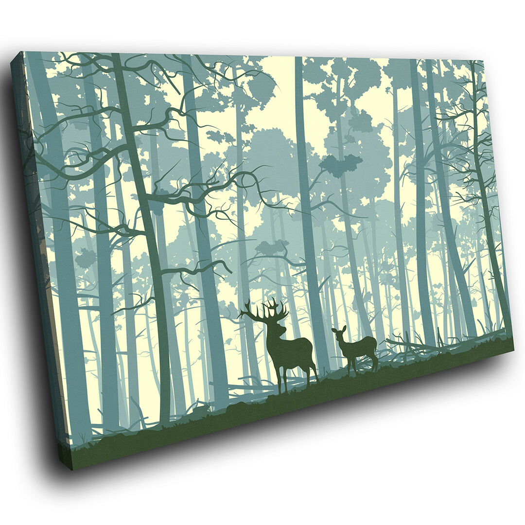 A563 Stag  Blau Forest Abstract Funky Animal Canvas Wall Art Large Picture Print