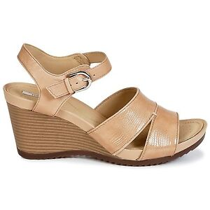 d60f98e6670 NEW Geox D New Roxy F women s leather wedge sandals 8.5 M EU 38.5 ...