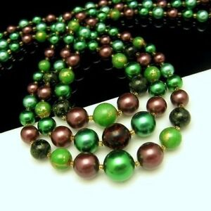 LISNER-Vintage-3-Strand-Necklace-Chunky-Green-Yellow-Confetti-Beads-Lucite