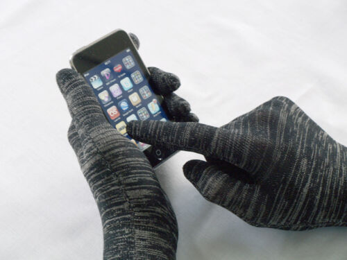 touch screen gloves L black premium fine knit unisex with silver great gift