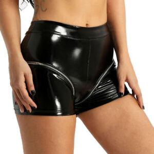 Women-Lingerie-Patent-Leather-Shorts-High-Waist-Zipper-Underwear-Panties-Briefs