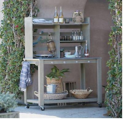 Outstanding Kitchen Hutch Buffet Table Farmhouse Open Storage Rustic Weathered Dining Room Ebay Interior Design Ideas Skatsoteloinfo