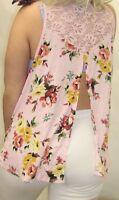 Sxy Blk Floral Crochet Slit Cutout Stretch Women Plus Tank Top Summer 1x/2x/3x