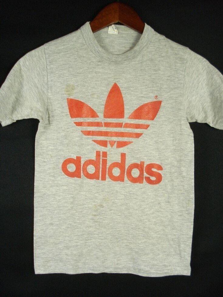 Vintage 70s 80s ADIDAS Trefoil LOGO T-Shirt Γκρι ΓυναικΡία S XS