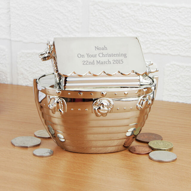Personalised Boat Money Box Noah's Ark Naming Day Silver Money Box - Any Message