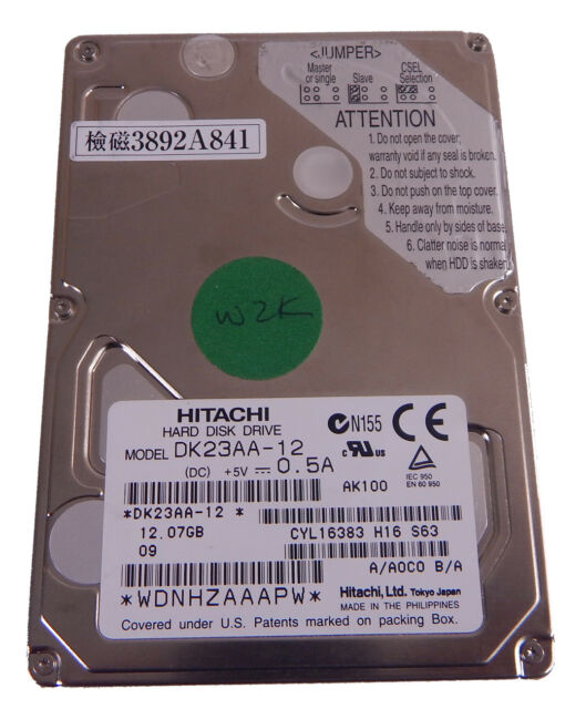 Hitachi 2.5inch 12.0GB 9.5mm IDE 4200rpm HDD DK23AA-12 808-878745-821A