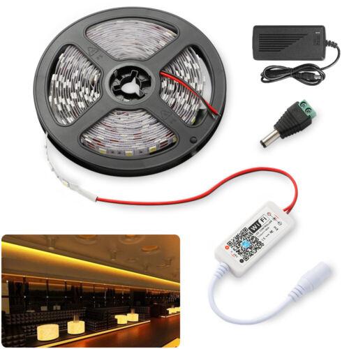 5m 2835 LED Warmweiß Kaltweiß Strip Band 60LEDs Streifen Leiste Netzteil Adapter