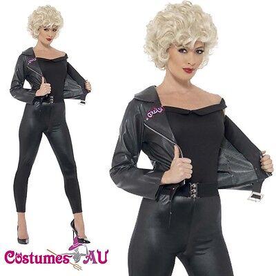 Ladies Grease T-birds Costume 50s Bad Sandy Womens 1950s Tbirds Black Jacket