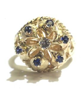 14k-yellow-gold-synthetic-sapphire-cubic-zirconia-cz-womens-ring-6-5g