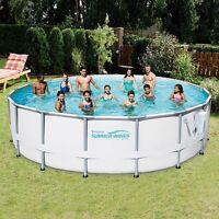 Summer Waves Elite 18' Foot Metal Frame Above Ground Pool Set With Filter Pump