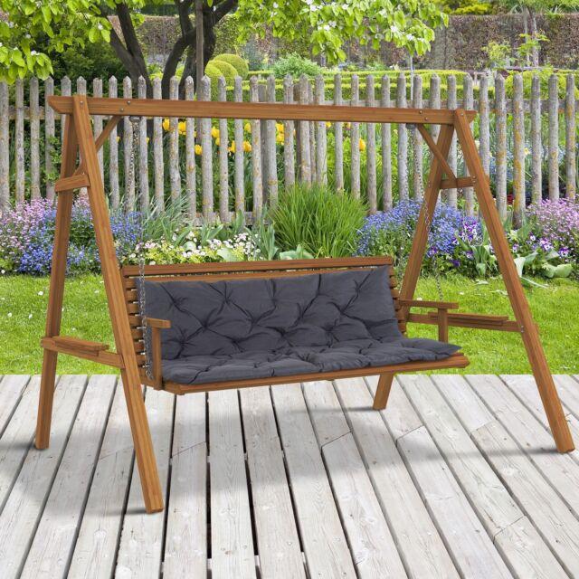 Outsunny 84b 136 Outdoor Garden Patio Cushions Backrest Grey