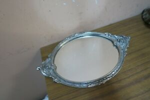 Beautiful-Art-Nouveau-style-Vanity-Mirror-Tray-Pewter-Frame-8-034-x-12-034